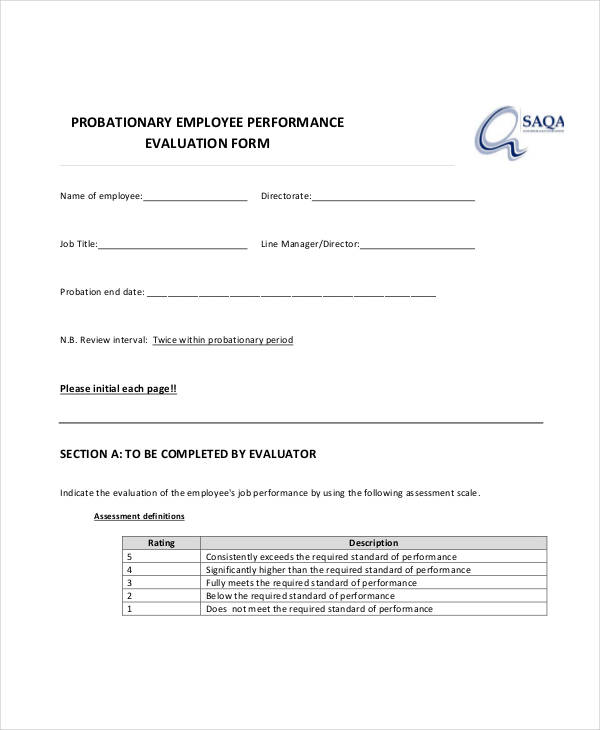probationary employee performance evaluation form2
