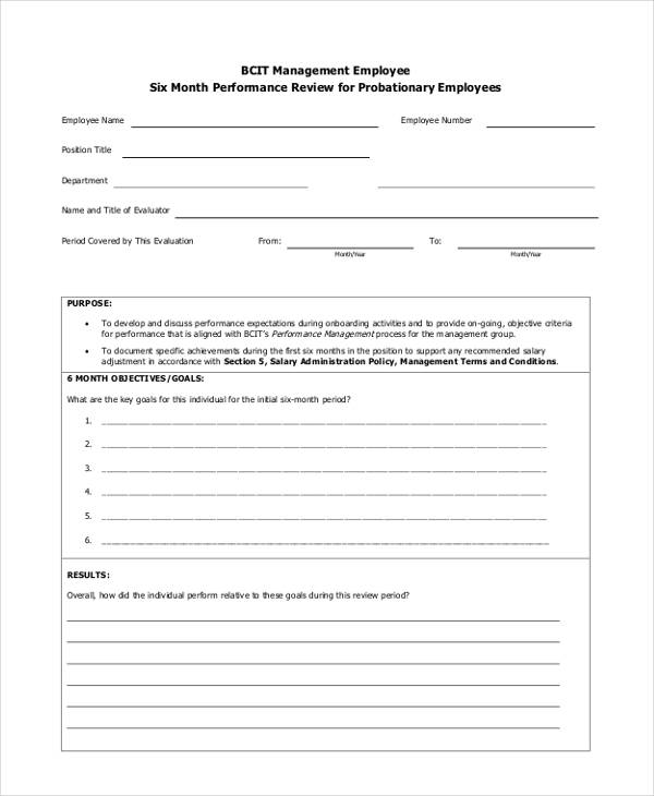 probationary management employee evaluation form