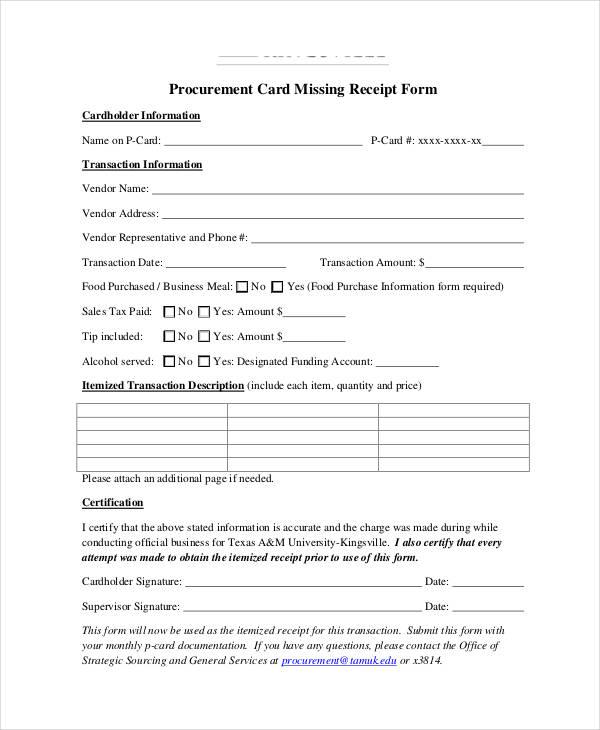 procurement card missing receipt form