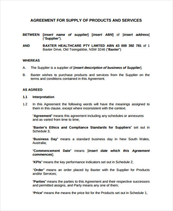 product supplier service agreement form