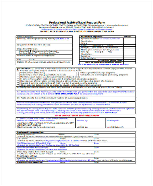 professional activity travel request form