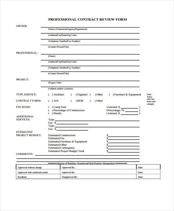 professional contract review form