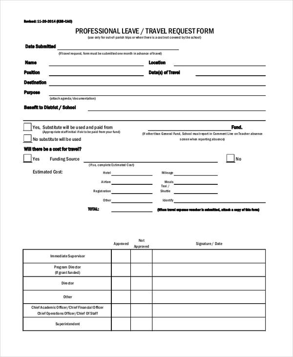 professional leave travel request form