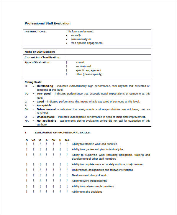 Employee Evaluation Forms In Doc