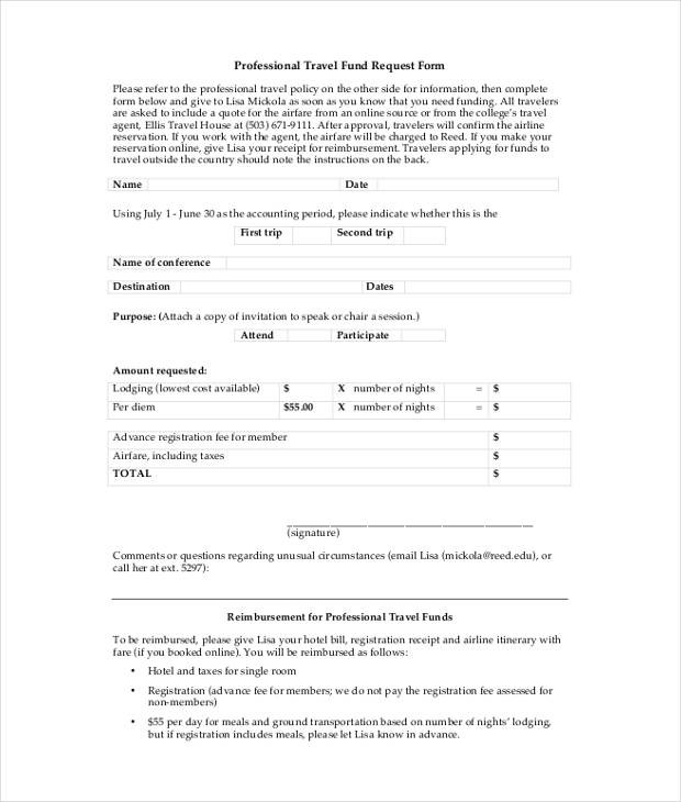 professional travel fund request form