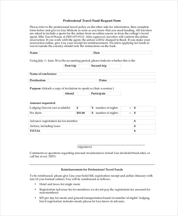 professional travel fund request form2