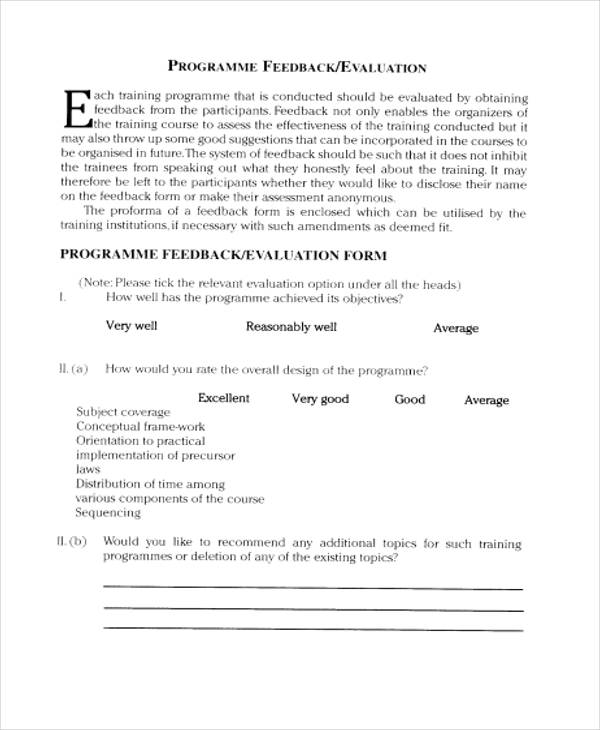 programme training evaluation feedback form