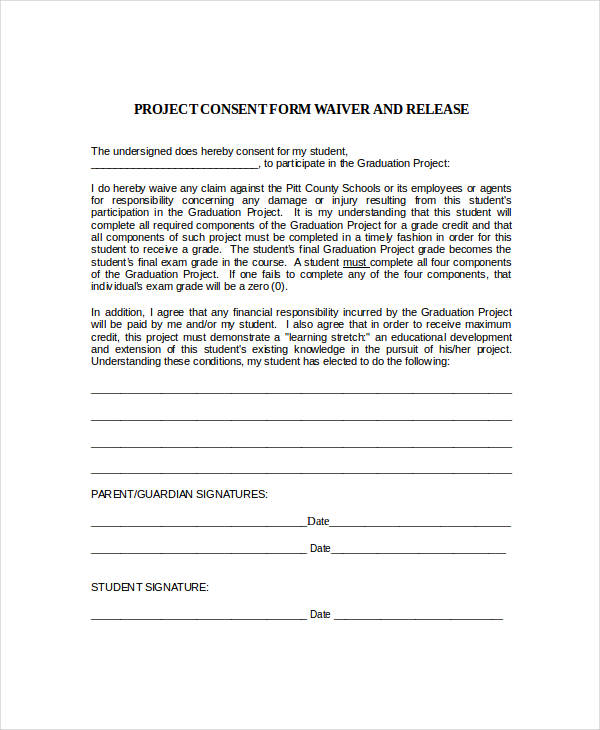 project consent form waiver and release