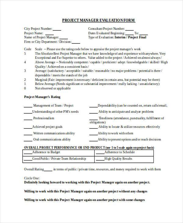 project manager evaluation form