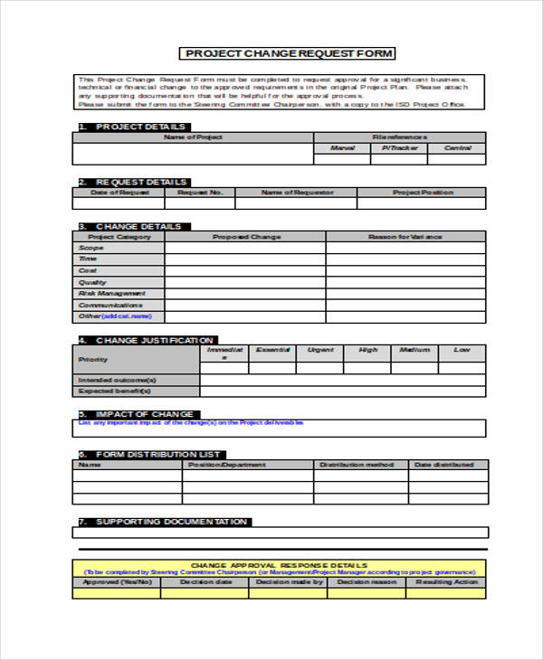 project work change order form