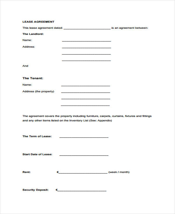 property lease agreement form in pdf