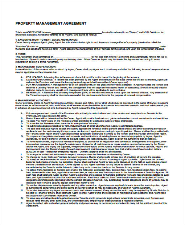 Property Agreement Form   Free Documents In Word Pdf