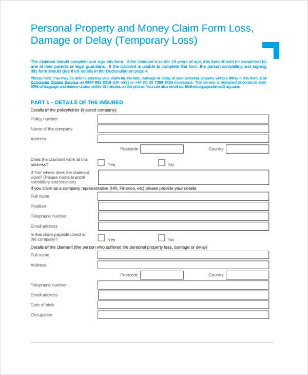 property money claim form