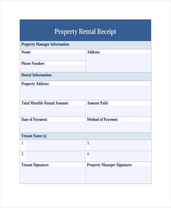 property rental receipt form