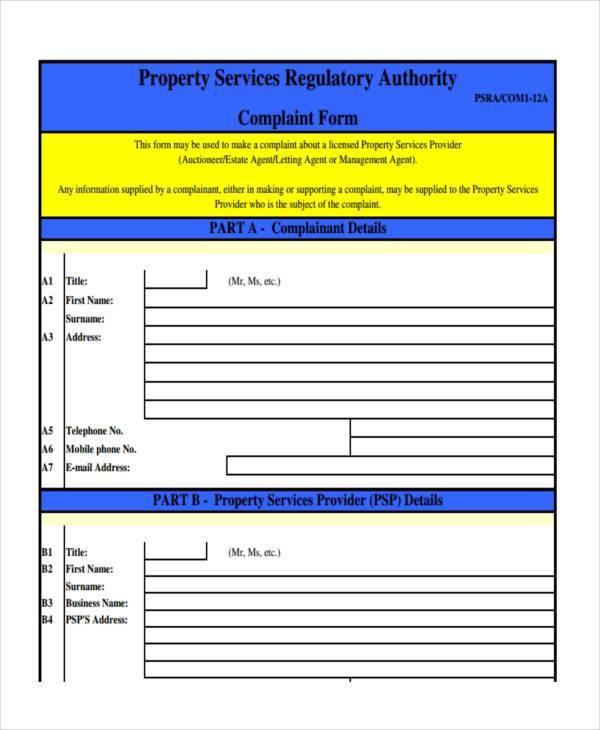 property service complaint form