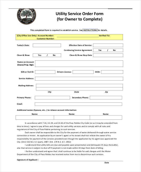 property utility service order form