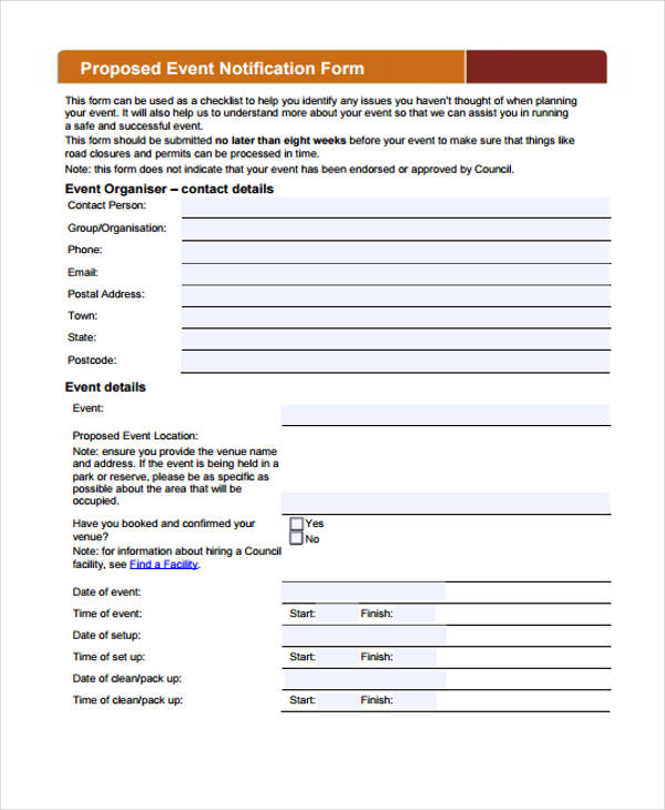 proposed event notification form