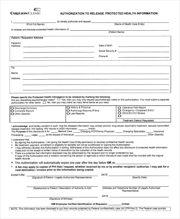 protected health release authorization form