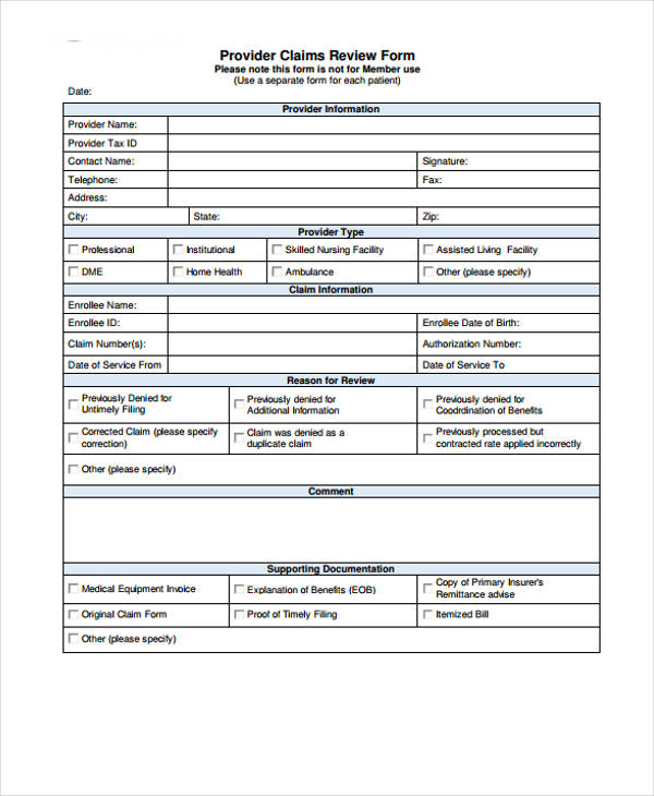 provider claims review form1