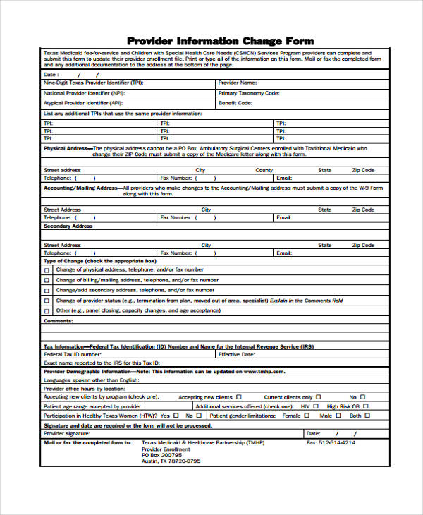 provider information change form