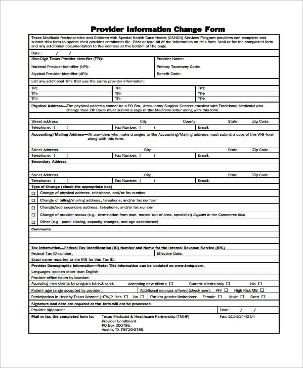 provider information change form3