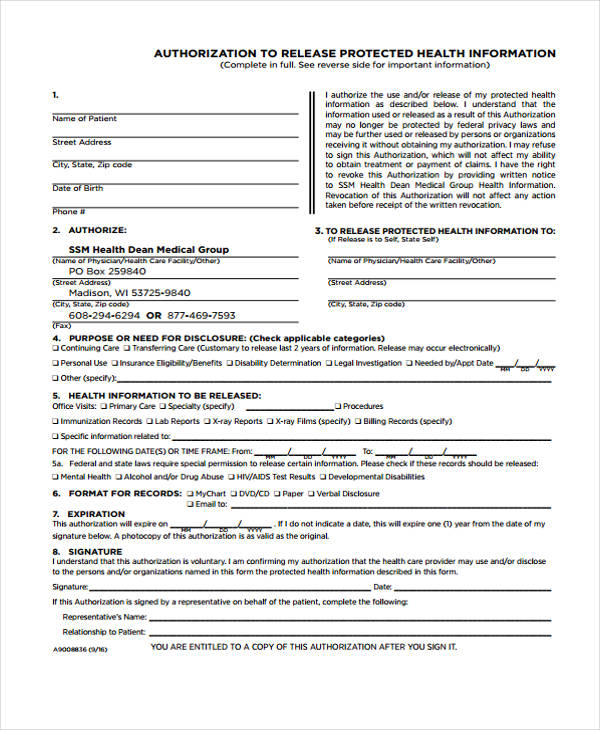 public health release authorization form