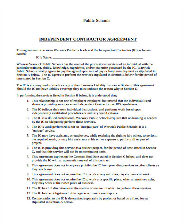 public schools independent contract agreement form