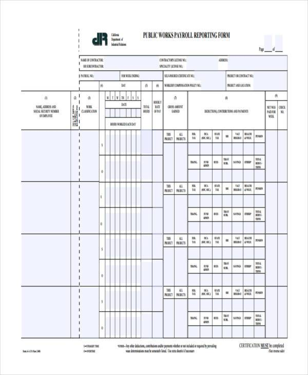 Public Works Payroll Reporting Form Fill In  Casadedious