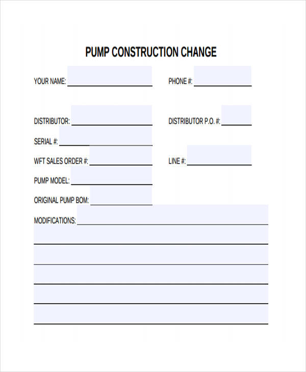 pump construction change form