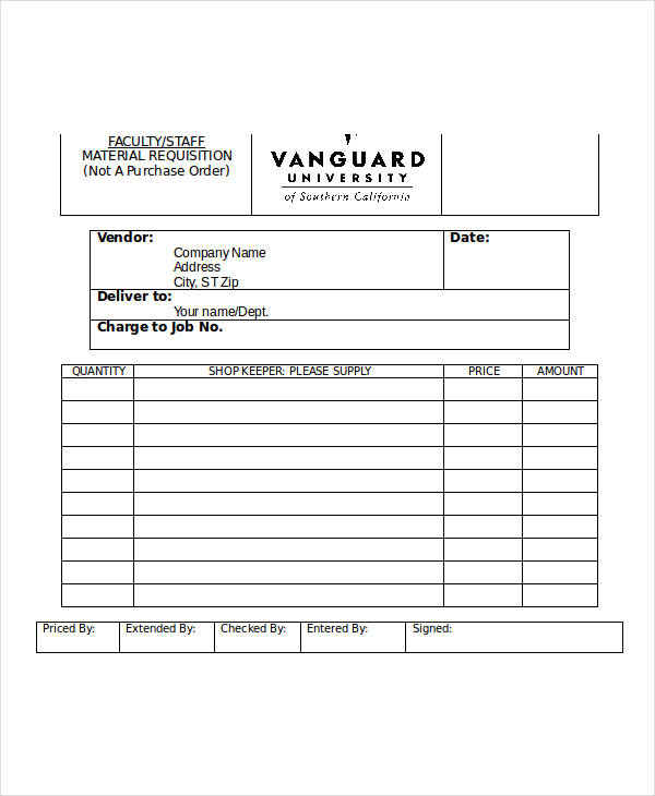 Sample Material Requisition Form Free Documents In Word Pdf
