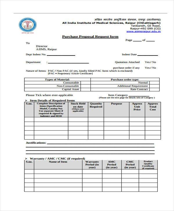 purchase proposal request form