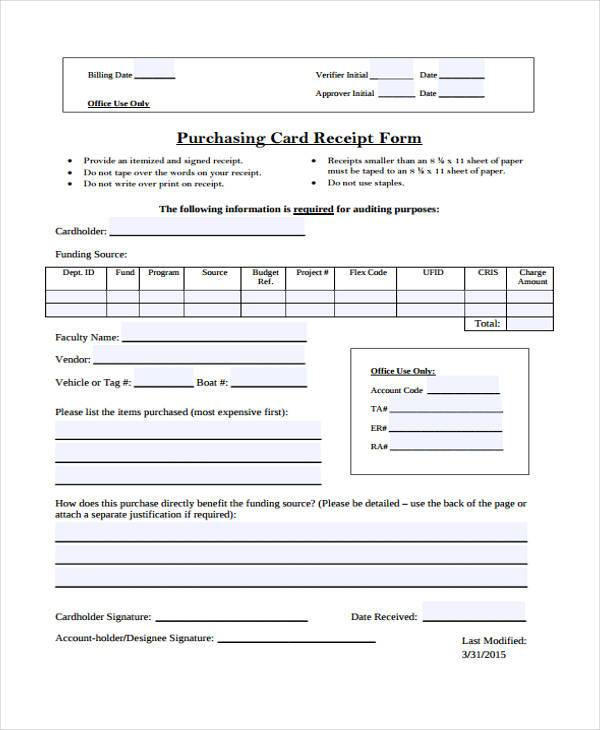 Purchasing Card Receipt Form  Purchase Receipt Template