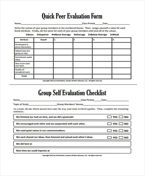 quick peer evaluation form