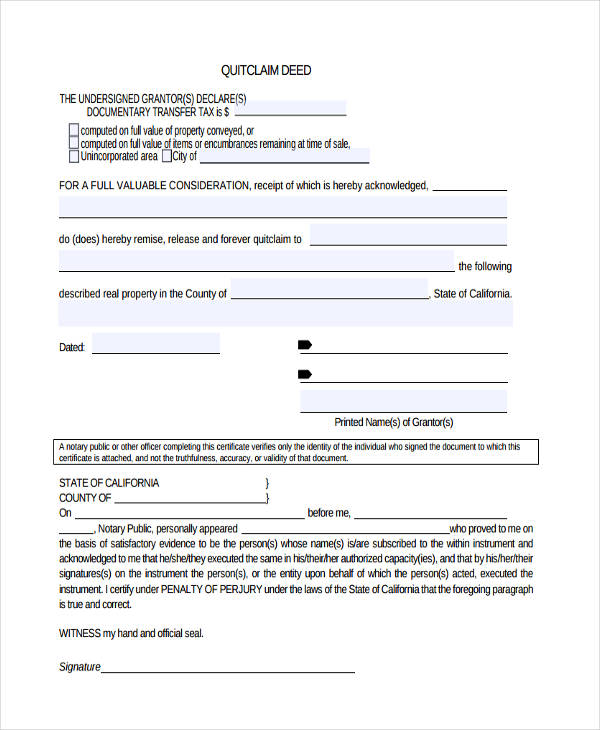 quit claim deed form
