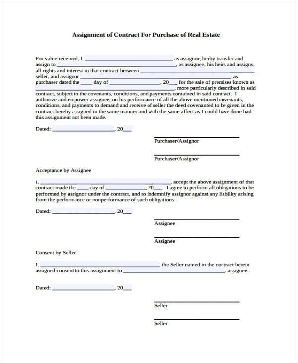 real estate assignment contract form