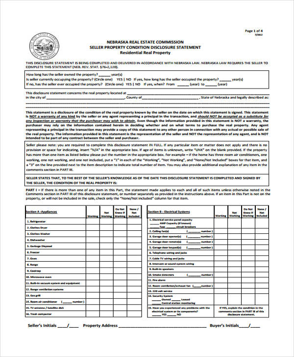 real estate disclosure statement form1