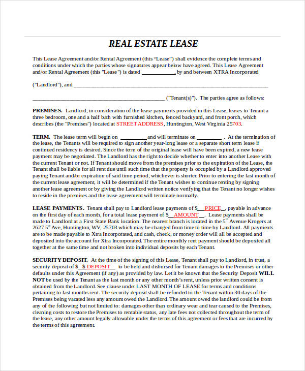 real estate lease agreement form3