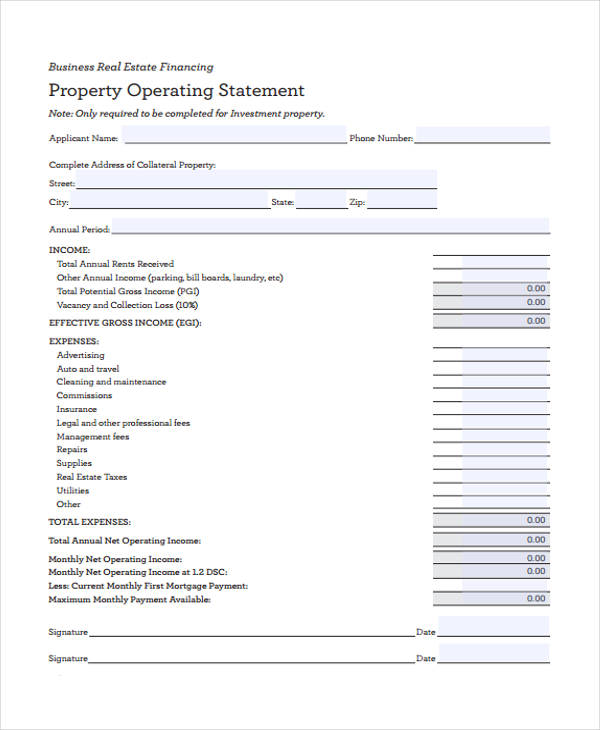real estate operating statement form