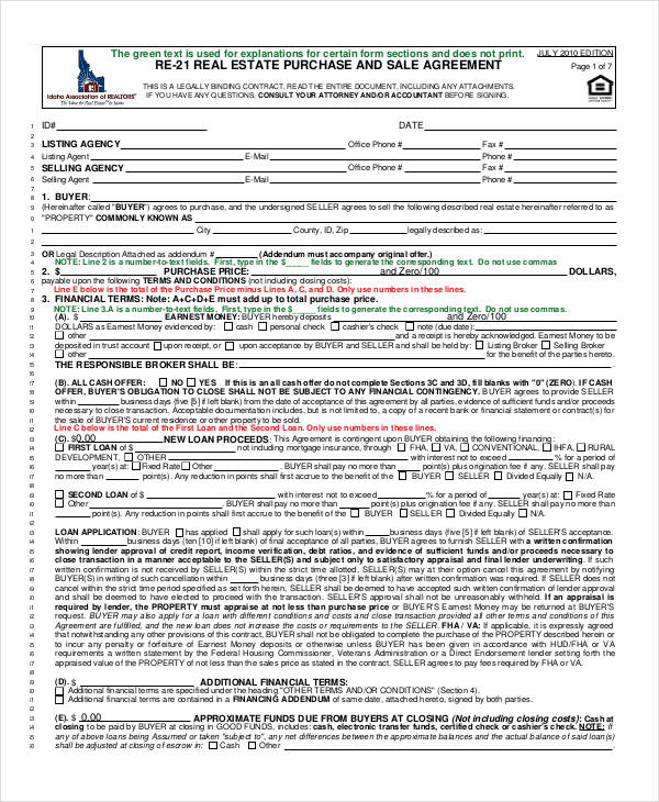 22 Free Purchase Agreement Form – Real Estate Purchase Agreement Template Free