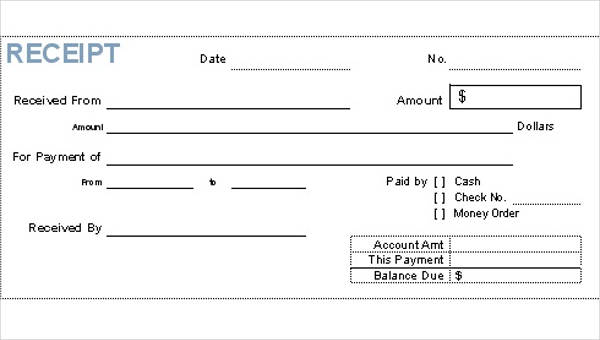 Free 37 Sample Receipt Forms In Pdf Ms Word Excel