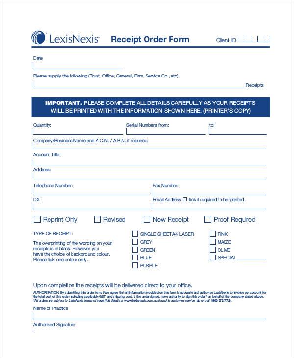 receipt order form pdf