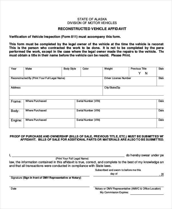 reconstructed vehicle affidavit form