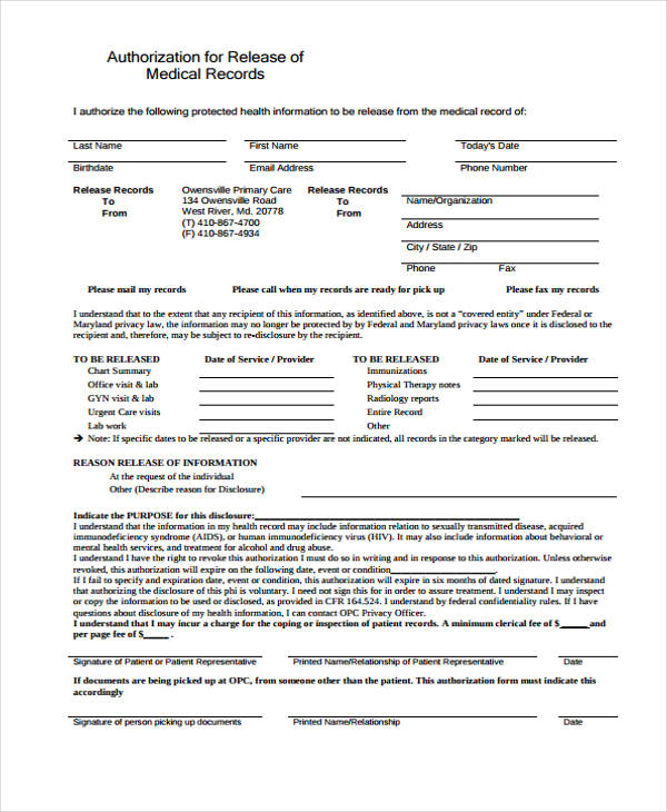 records release authorization form