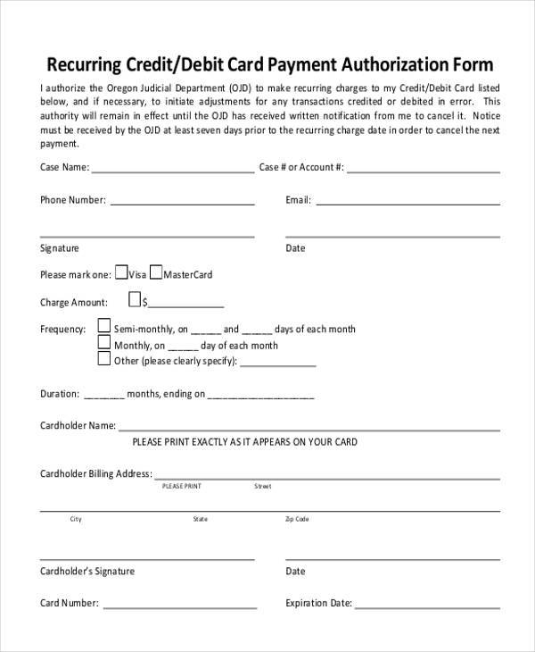 recurring credit card authorization form1