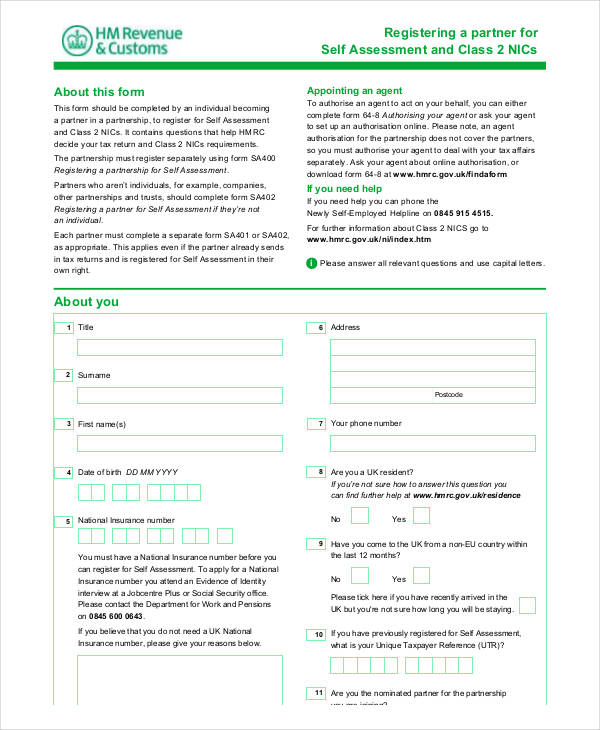 register partner self assessment form