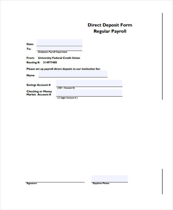 regular payroll direct deposit form1