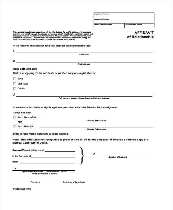 relationship affidavit form in pdf