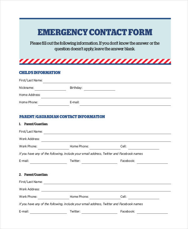 release emergency medical contact info form