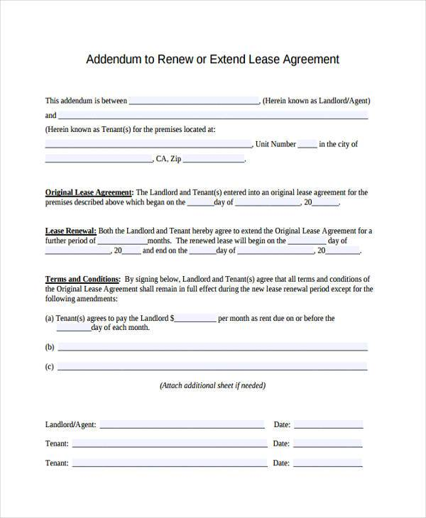 renewal lease agreement form