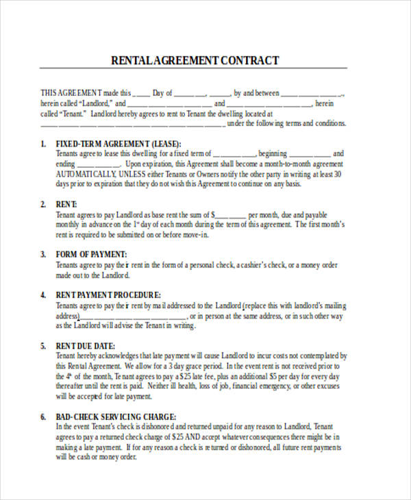 rent agreement contract form